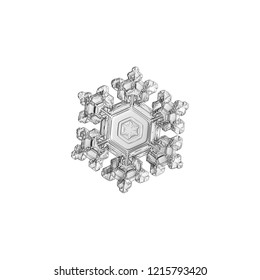 Snowflake isolated on white background. Macro photo of real snow crystal: beautiful star plate with hexagonal symmetry, six short, elegant arms and glossy, relief surface with complex details.