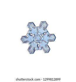 Snowflake isolated on white background. Macro photo of real snow crystal: simple star plate with fine hexagonal symmetry, glossy relief surface, six short, broad arms and elegant inner details.