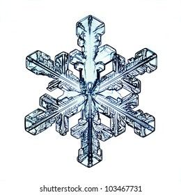 Snowflake on white background natural