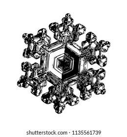 Snowflake on white background. This illustration based on macro photo of real snow crystal: beautiful star plate with fine hexagonal symmetry, six short, broad arms and glossy surface.