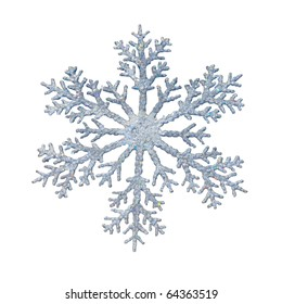 Snowflake shape decoration with clipping path included
