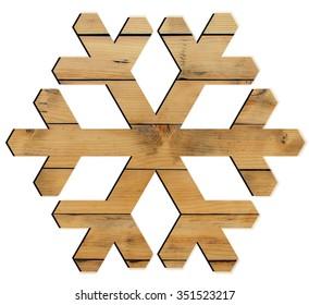 Snowflake shape decoration made wood tree isolated on white