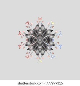 Snowflake simple. Gray, white and neutral snow on gray, white and neutral colors. Abstract wallpaper, wrapping decoration. Symbol of winter, Merry Christmas holiday, Happy New Year celebration.