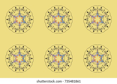 Snowflake winter. Symbol of winter. Raster illustration. Isolated watercolor snowflakes on colorful background.
