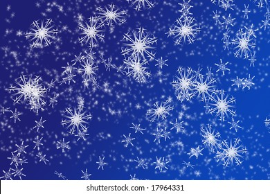 snowflakes background on blue