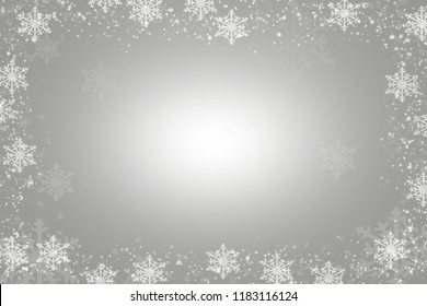 Snowflakes as a border on a Gray background with snowflakes as a border