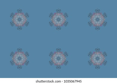 Snowflakes collection. Fine winter ornament. Raster illustration. Isolated of raster blue, gray and neutral snowflakes.