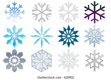 Snowflakes collection. Isolated on the white