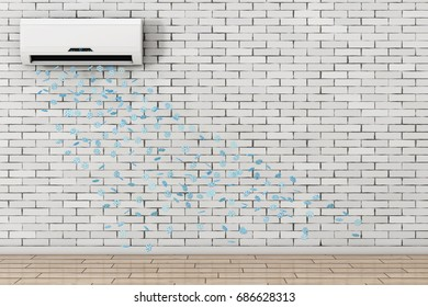 Snowflakes Drop from Modern Air Conditioner in front of brick wall. 3d Rendering.