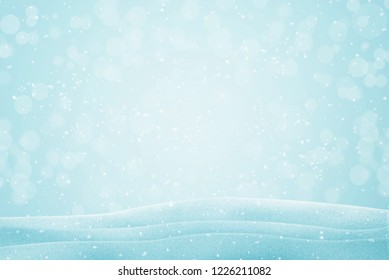 Snowflakes falling. Winter background image with bokeh lights.