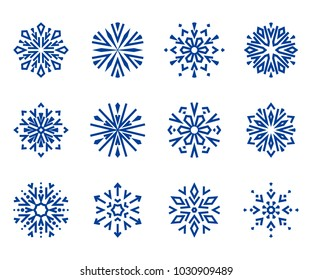 Snowflakes icon collection 1. Blue snowflakes on a white background. Graphic ornament.