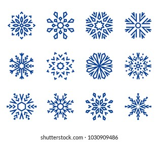 Snowflakes icon collection 2. Blue snowflakes on a white background. Graphic ornament.