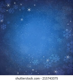 Snowflakes on a blue background. Winter blue snow background, substrate, card.