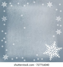 snowflakes on painting background - christmas design
