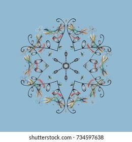 Snowflakes pattern. Snowflakes background. Snowflake ornamental pattern. Flat design with abstract snowflakes isolated on background.