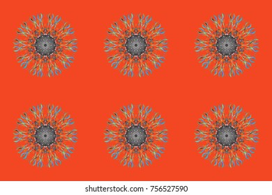 Snowflakes radial orange, gray and blue colors. Isolated nice snowflakes on colorful background.Raster illustration.