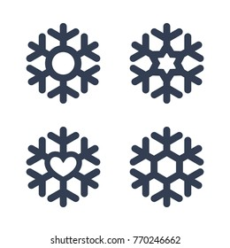 Snowflakes signs set. Black snowflake icons isolated on white background. Snow flake silhouettes. Symbol of snow, holiday, cold weather, frost. Winter design element illustration