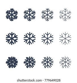 Snowflakes signs set. Black snowflake icons isolated on white background. Snow flake silhouettes. Symbol of snow, holiday, cold weather, frost. Winter design element. illustration