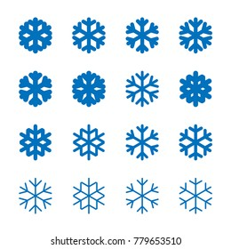 Snowflakes signs set. Blue Snowflake icons isolated on white background. Snow flake silhouettes. Symbol of snow, holiday, cold weather, frost. Winter design element. illustration