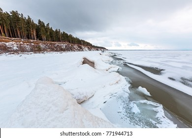 Snow-ice ridges at the Novosibirsk Ob reservoir in early winter. The river Ob, Novosibirsk oblast, Siberia, Russia
