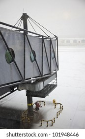Snowing on the airport - seen in Prague, Czech Republic