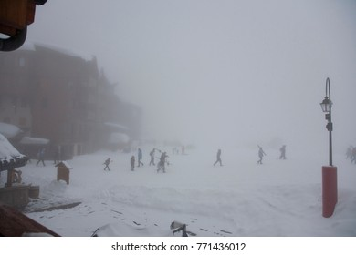 The snowing in Val-Thorens Alps France. Winter, mountains, snow.