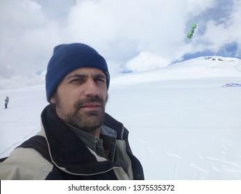 Snowkite in ski area of Andorra. Year 2008