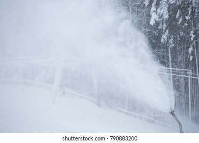 Snowmaking with snow gun.