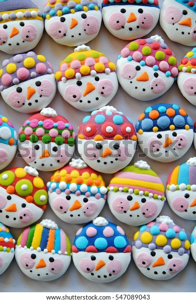 Snowman Background Christmas Cookies New Years Stock Photo Edit Now
