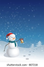 Snowman with the bell