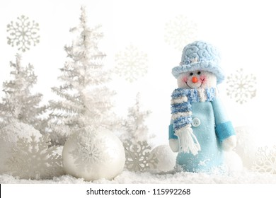 Snowman and Christmas decorations.