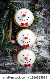Snowman cookies on Christmas decoration,selective focus