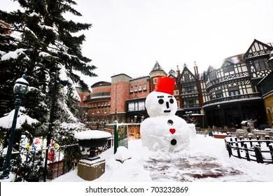 Snowman display for snow festival at Chocolate factory, Sapporo, Hokkaido, Japan