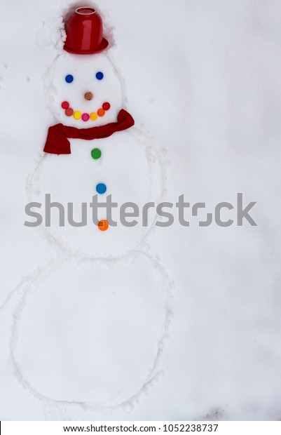 Snowman Drawing Snow Field Winter Season Stock Photo (Edit