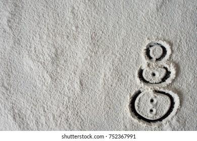 Snowman drawn on snow