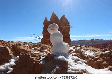 Snowman enjoying the sun at Bryce Canyon, Utah, USA