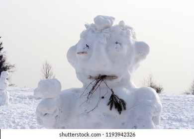 Snowman -  figure created with compressed snow - detail of head