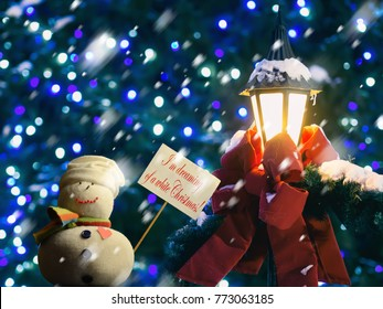 snowman figure holding a placard board with stick attached with the text i - When Was White Christmas Written