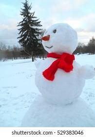 snowman and fir tree winter landscape