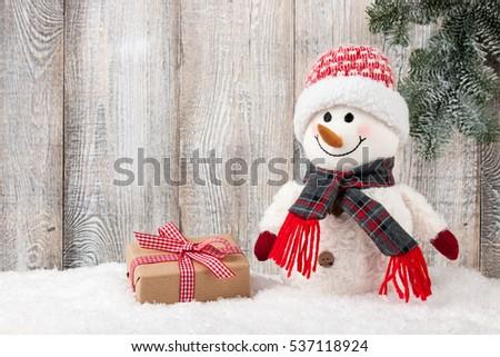 Snowman Gift Box On Snow Stock Photo Edit Now 537118924 Shutterstock