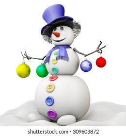 Snowman in a hat with Christmas balls on a white. 3d illustration.