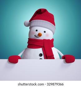 snowman holding white banner, blue Christmas background, holiday clip art, 3d illustration