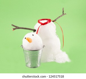 Snowman isolated on green background
