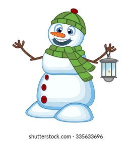 Snowman with a lantern and wearing a head cover and a green scarf