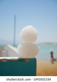 Snowman made of salt sea salt from the Dead Sea
