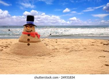 Snowman Made of Sand on the Beach