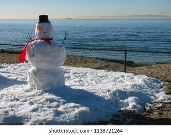 A snowman made of snow brought from the mountains at a preschool by the Pacific Ocean in southern California. A view of Santa Catalina Island on the horizon