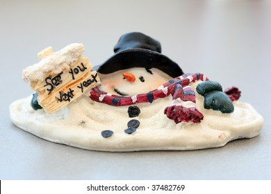 """snowman melting and holding a sign """"see you next year"""""""