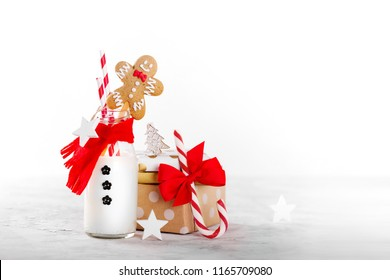 Snowman Milk Bottle with Gingerbread man and candy cane