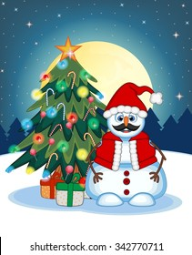 Snowman With Mustache Wearing A Santa Claus Costume With Christmas Tree And Full Moon At Night Background For Your Design Illustration